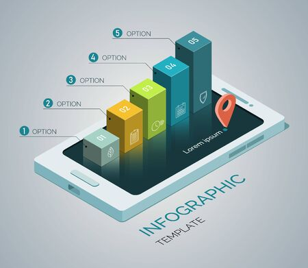 Template infographics. Mobile phone concept with 5 columns, steps, options. 3d Isometric illustration.