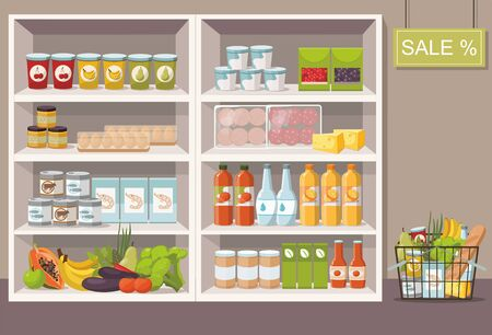 Supermarket interior with shelves full of various products. Full shopping cart.  Vector Illustration