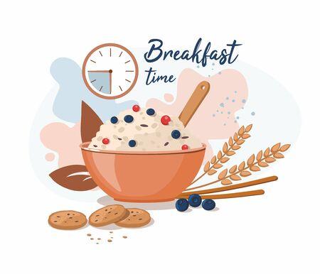 Oatmeal porridge with blueberry in ceramic bowl. Breakfast time. Vector Illustration