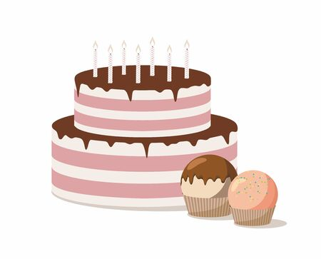 Cake with candles and sweet confection dessert.  Vector illustration
