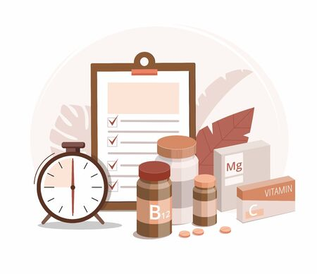 Vitamin bottles, medical pills and alarm clock on white background. Time of pill. Health care, pharmacy, medicine concept. Vector Illustration