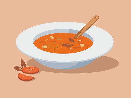 Homemade soup with tomatoes on a white plate. Vector Illustration