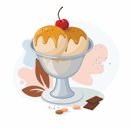 Ice cream dessert with caramel sauce and  cherry isolated on a white background. Vector Illustration