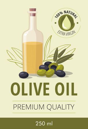 Glass bottle of olive oil and olives with leaves.