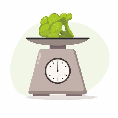 Kitchen scales with brocolli on white background. Vector Illustration