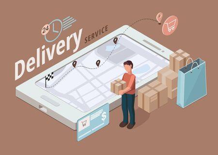 Delivery service concept. Business logistics, smart logistics technologies. Infographic 向量圖像