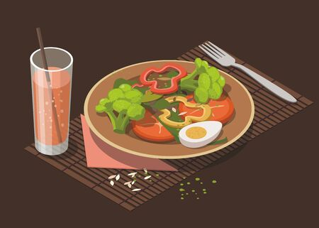 Spinach salad with fresh tomato, egg, broccoli and glass of juice on dark background. Healthy vegan food. Weight loss concept. Isometric Illustration