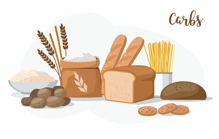 Carbs Food: bakery products, potatoes, pasta, flour and rice isolated on white. Illustration