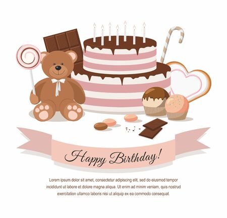 Birthday illustration with teddy bear, birthday cake and chocolate on white background