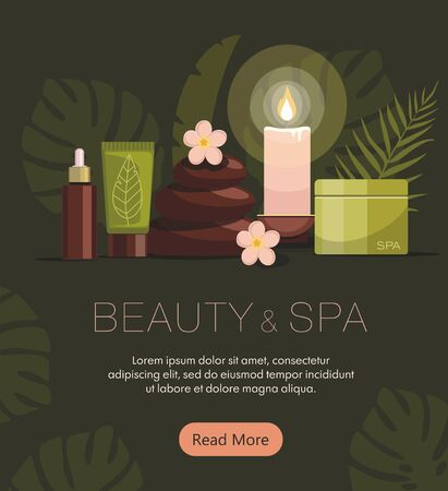 Spa composition with bottles of cosmetics, body oil, hot stones, lotion, candle and flowers on green background. Tropical spa resort concept. Web banner