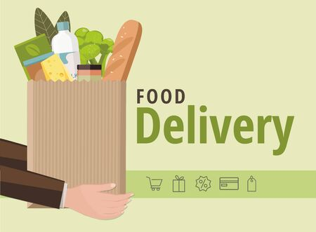 Man holding a paper bag with food. Food delivery service concept, online order. Vector Illustration