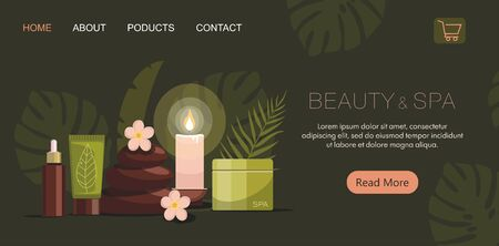 Spa composition with bottles of cosmetics, body oil, hot stones, lotion, candle and flowers on green background. Tropical spa resort concept. Illustration