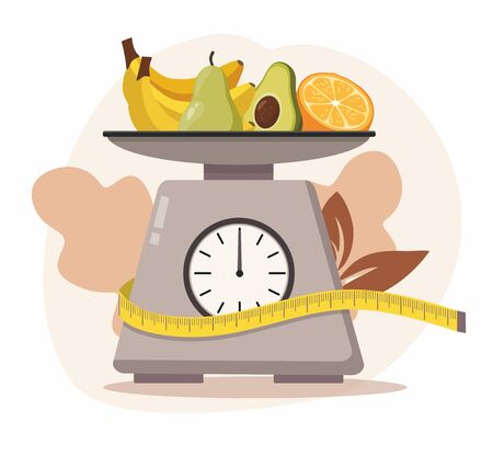 Kitchen scales with fruit on white background. Vector Illustration