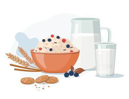 Oatmeal porridge with blueberry and milk. Breakfast time. Vector illustration Illustration