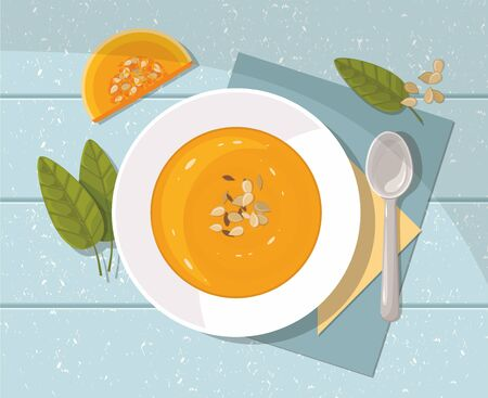 Pumpkin soup with spoon on blue  background. Top view. Thanksgiving day. Illustration