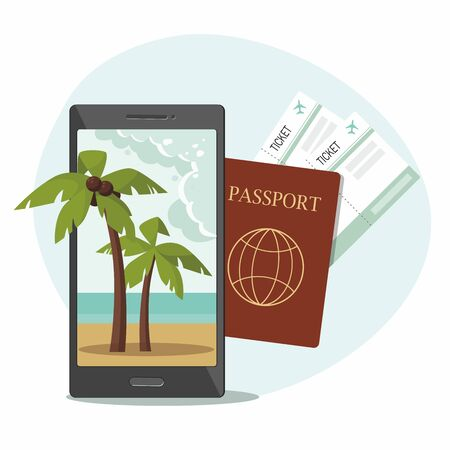 Passport with boarding pass tickets, and a phone with a beach and palm trees on screen. Vector Illustration