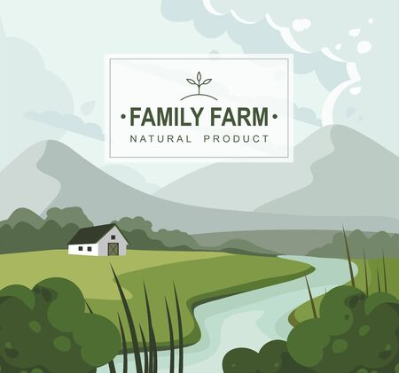 Farm landscape with house, mountains and a river. Nature. Vector illustration