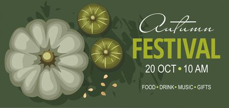 Autumn festival banner or invitation with pumpkins on green background. Vector