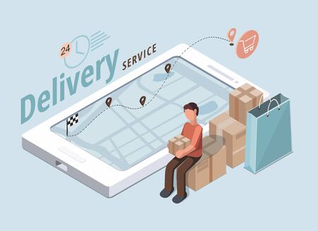 Delivery service concept. Man holds box. Business logistics illustration 向量圖像