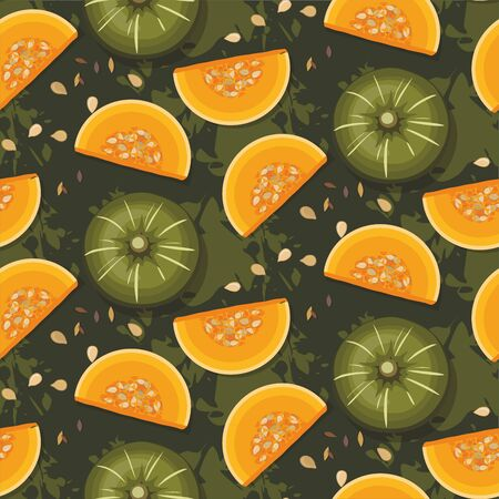 Pattern of colorful pumpkins on green  background . Autumn texture for thanksgiving, harvest and halloween.