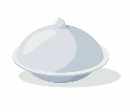 Silver serving dome or Cloche on plate isolated on white.  Vector illustration Illustration