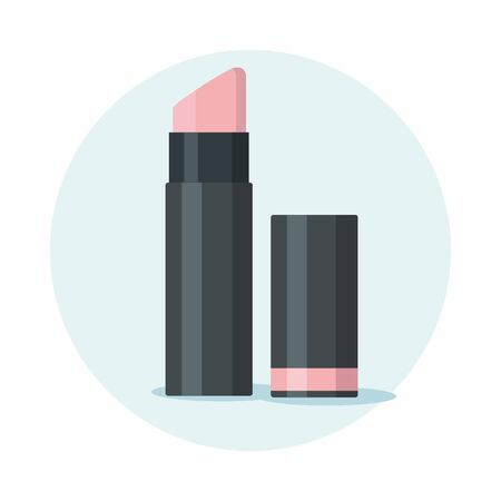 Opened pink lipstick illustration isolated on blue background.  Vector icon