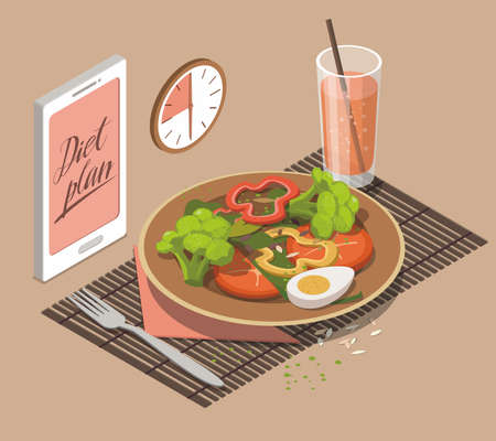 Vegetable salad, glass of  juice and  mobile phone. Weight loss concept. Isometric illustration