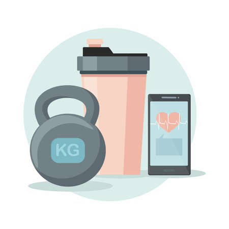 Sports equipment. Shaker, kettlebell and phone. Vector illustration