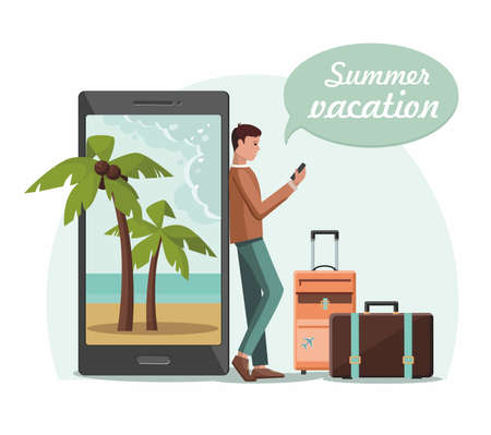 Young man with suitcase luggage book airplane travel on smartphone. Online booking service. Summer vacation.