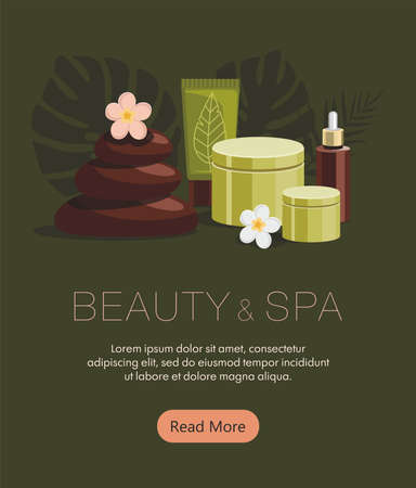Spa accessories.Body oil, hot stones, lotion, candle and flowers on green background. Tropical spa resort. Web banner
