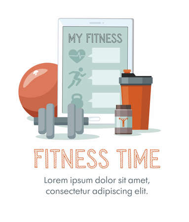 Sports equipment. Shaker, dumbbell and tablet. Online training concept. Vector