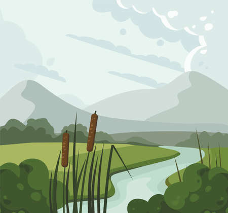River landscape with reed and hills. Vector illustration 向量圖像