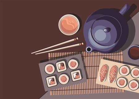 Japanese cuisine. Teapot, mugs of tea and sushi roll. Top view. Vector