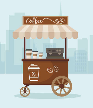 Street market cart with coffee. Market kiosk against the city background. Vector illustration.