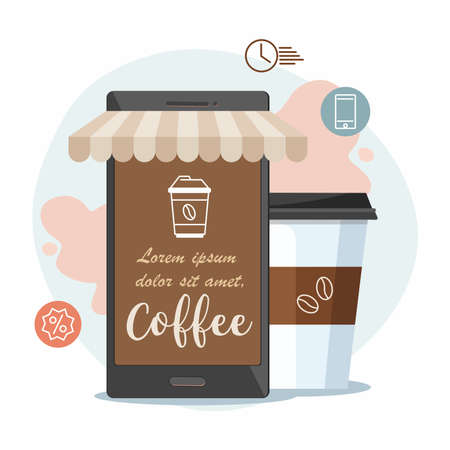 Coffee shop cafe as a mobile phone and coffee cup. Order food and drink concept. Flat vector illustration. 向量圖像
