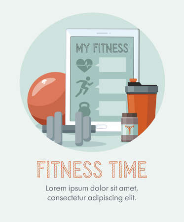 Sports equipment. Shaker, dumbbell, fitness ball and tablet. Training concept. Vector