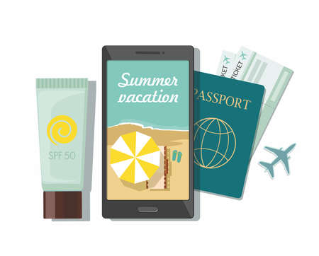 Summer travel concept. Passport, tickets airplane, sunscreen and mobile phone. Online booking, top view 向量圖像