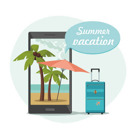 Tropical beach with coco palms, umbrella on phone and travel suitcase. Summer vacation. Online booking concept