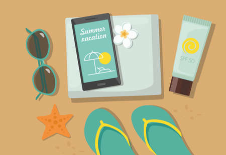 Composition with beach accessories. Sunglasses, towel, sun block, flip-flops and phone on sandy beach. Vector