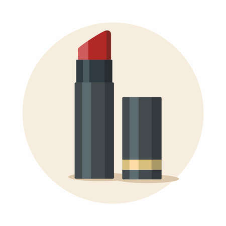 Opened red lipstick illustration isolated on yellow background. Vector icon