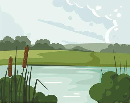 River landscape with reed. Nature vector illustration 向量圖像