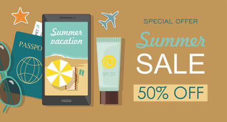 Composition with beach accessories. Sunglasses, passport , sun block and phone on sandy beach. Summer sale banner