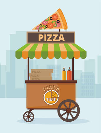 Street market cart with pizza. Market kiosk against the city background. Vector