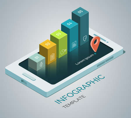 Template infographics. Mobile phone concept with 5 columns, steps, options. 3d Isometric