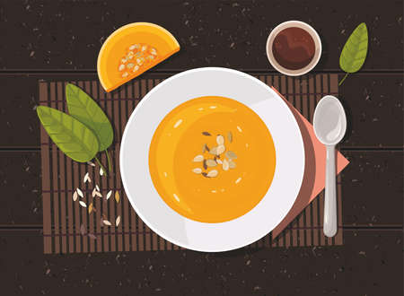 Pumpkin soup with spoon on table. Top view. Vector Illustration