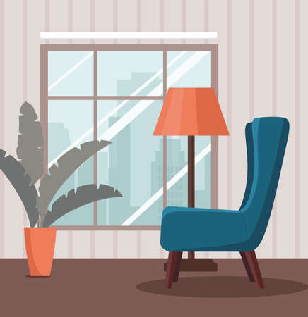 Interior with armchair with floor lamp and window. Vector Illustration