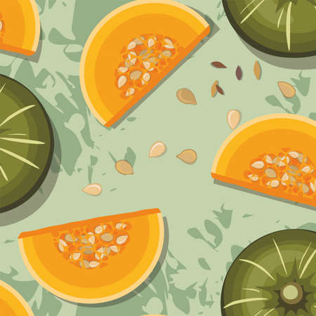 Pattern of pumpkins on green background. Autumn texture for thanksgiving, harvest and halloween. Vector