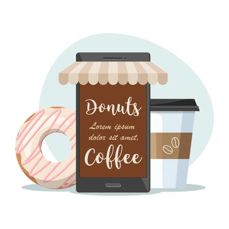 Coffee shop cafe. Mobile phone, coffee cup and donut. Order food and drink concept. Flat vector illustration.