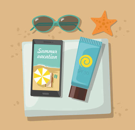 Composition with beach accessories. Sunglasses, towel, sun block and phone on sandy beach. Vector Illustration