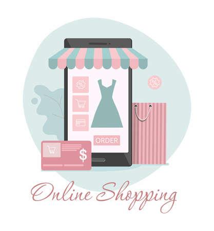 Online clothes shopping, e-commerce sales, digital marketing  concept. Vector Illustration.  イラスト・ベクター素材